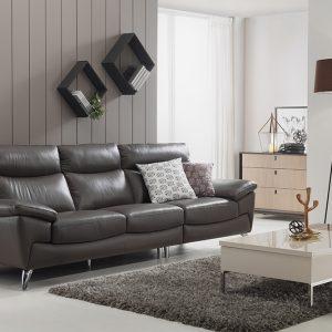 Bàn ghế phòng khách đẹp với chiếc sofa da hình chữ L