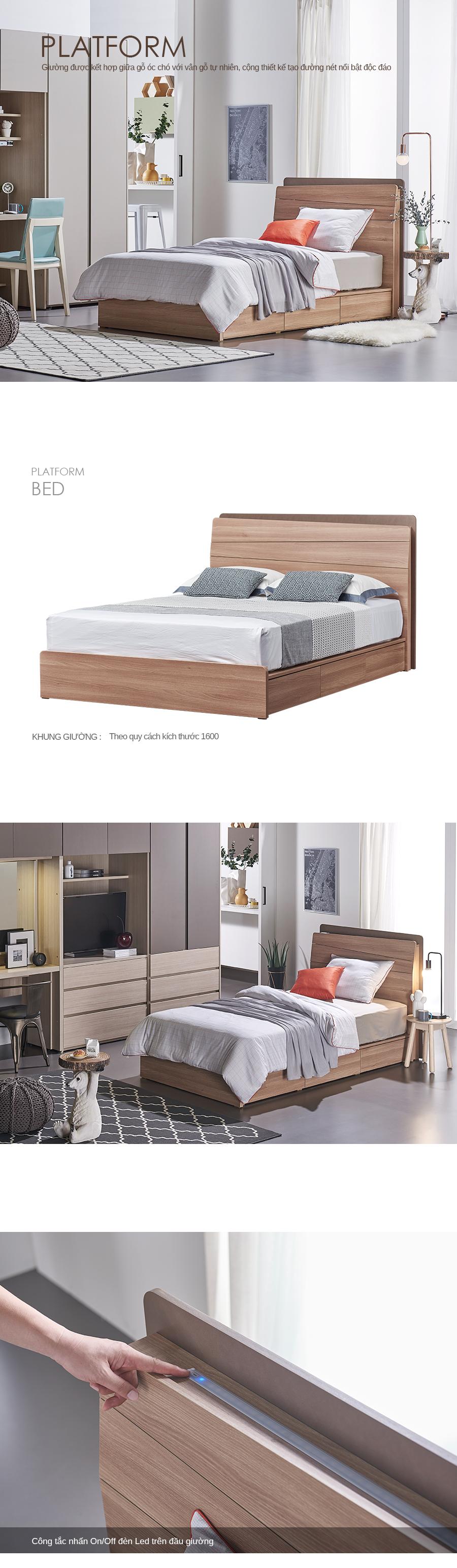 Giường ngủ 1.6M Platform